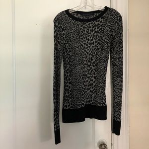 French Connection Grey and Black Leopard Sweater